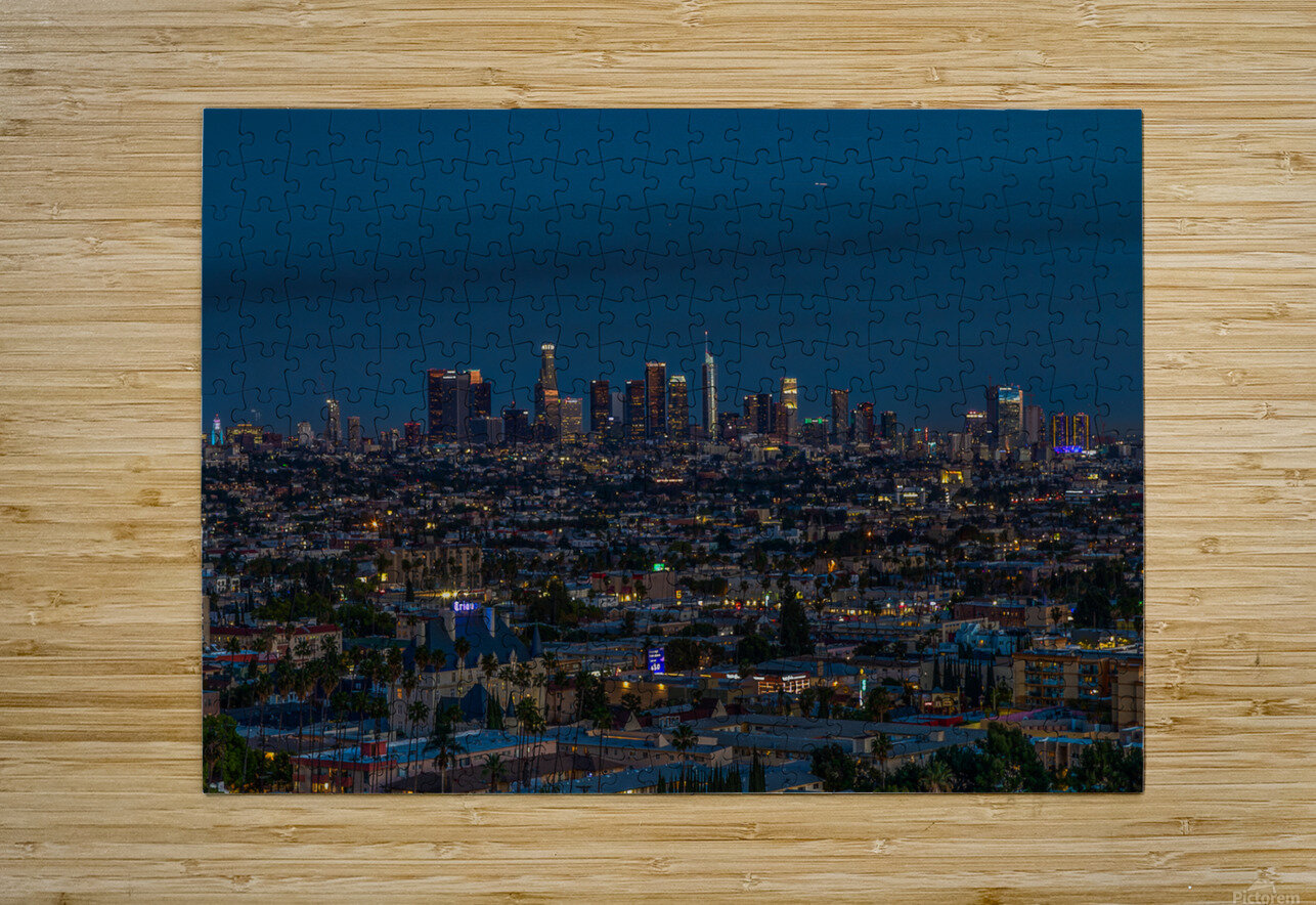 Los Angeles At Night  HD Metal print with Floating Frame on Back