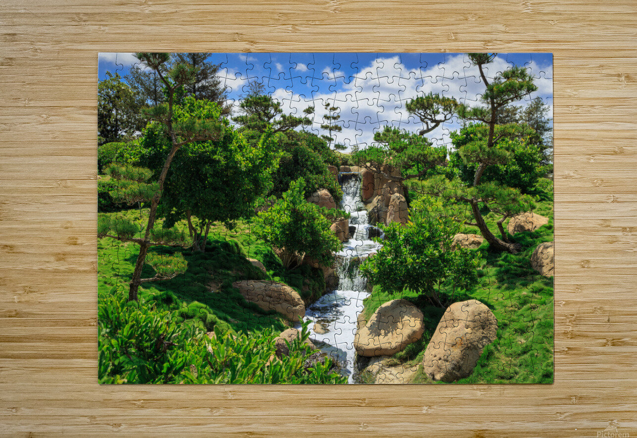 Garden Waterfall  HD Metal print with Floating Frame on Back