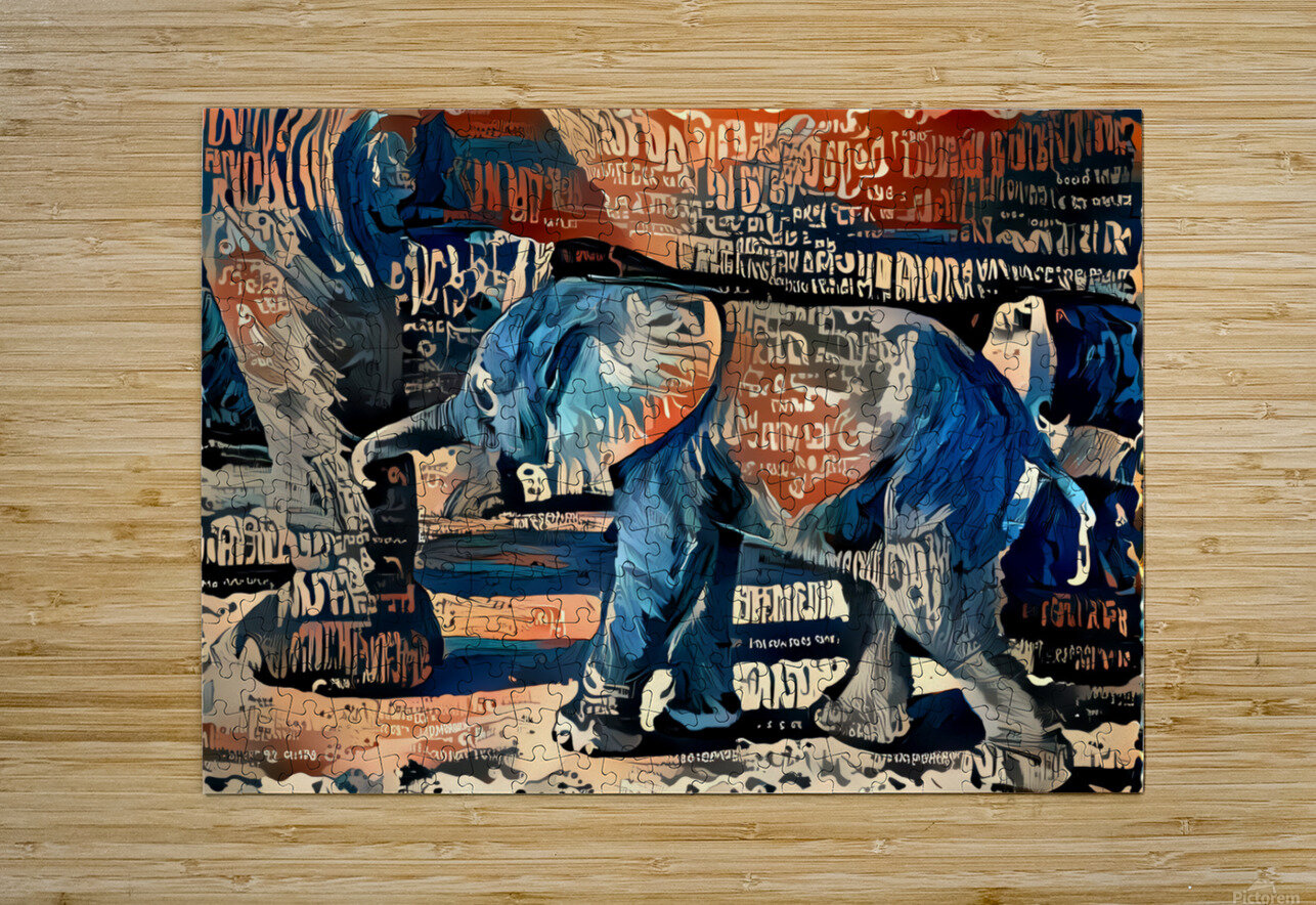 The Posterized Elephant  HD Metal print with Floating Frame on Back