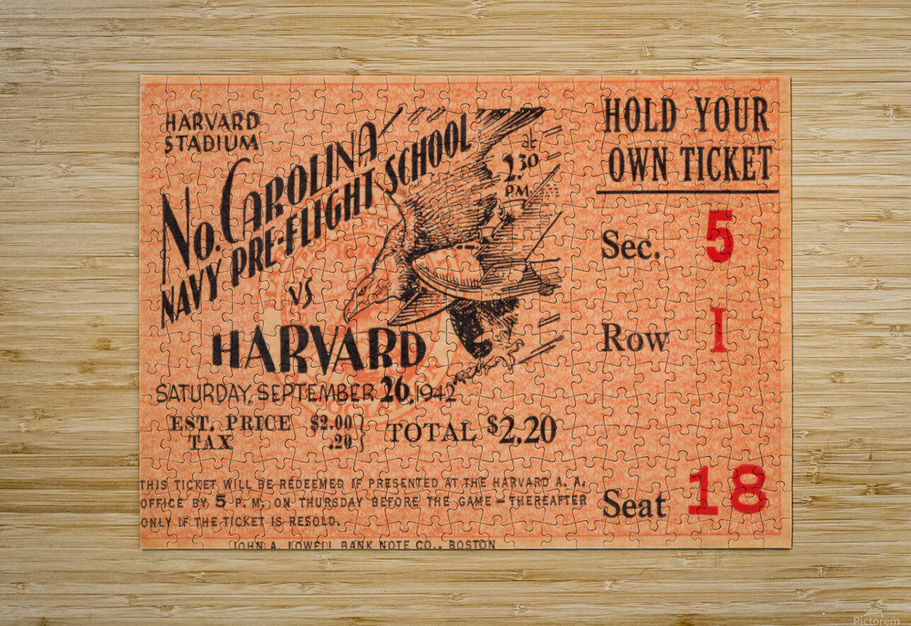 1942 Harvard Crimson vs. North Carolina Pre-Flight Cloudbusters  HD Metal print with Floating Frame on Back