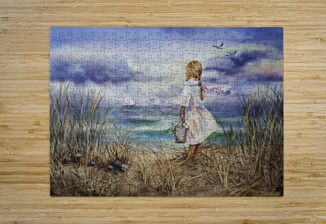 Girl At The Ocean Beach Art Painting  HD Metal print with Floating Frame on Back