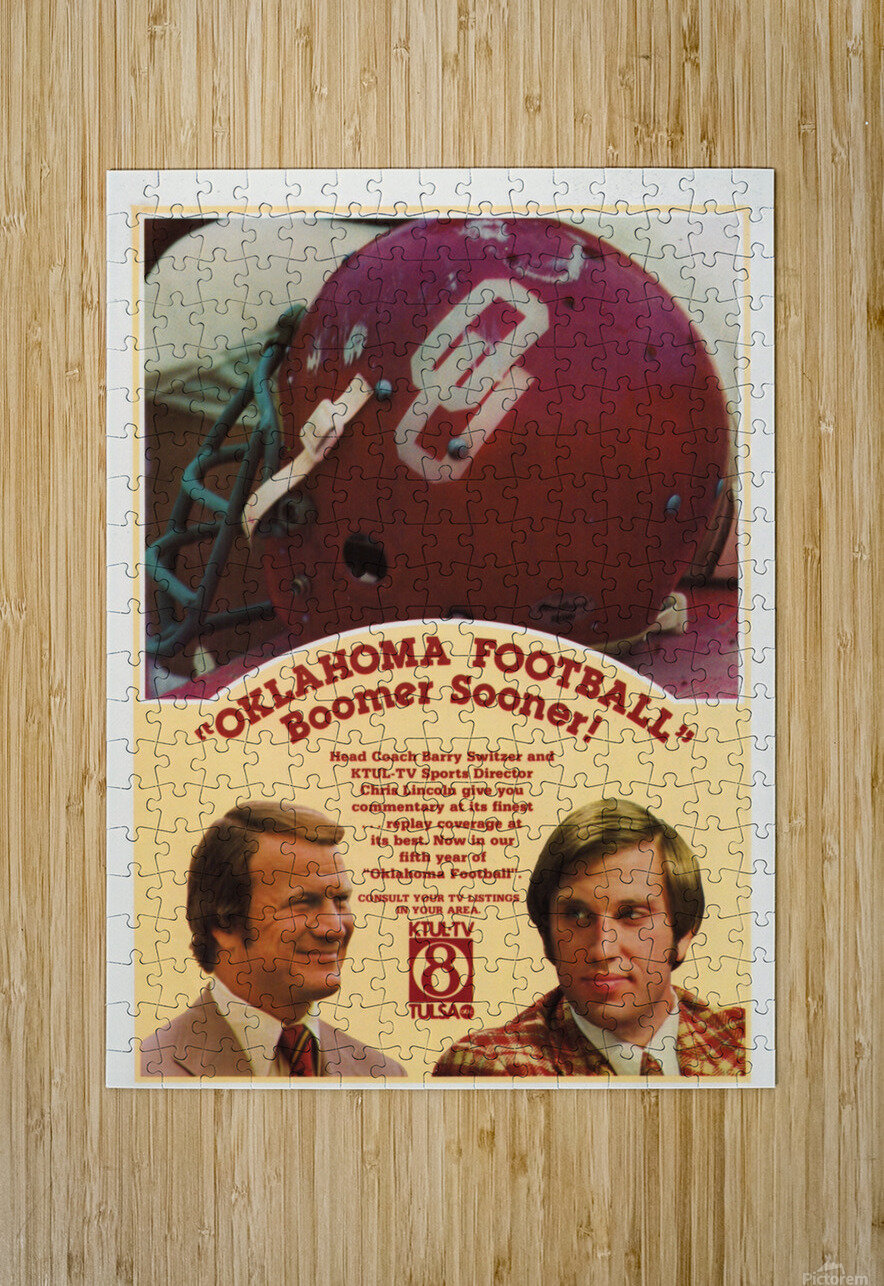 1977 Oklahoma Football Show Ad Barry Switzer   HD Metal print with Floating Frame on Back
