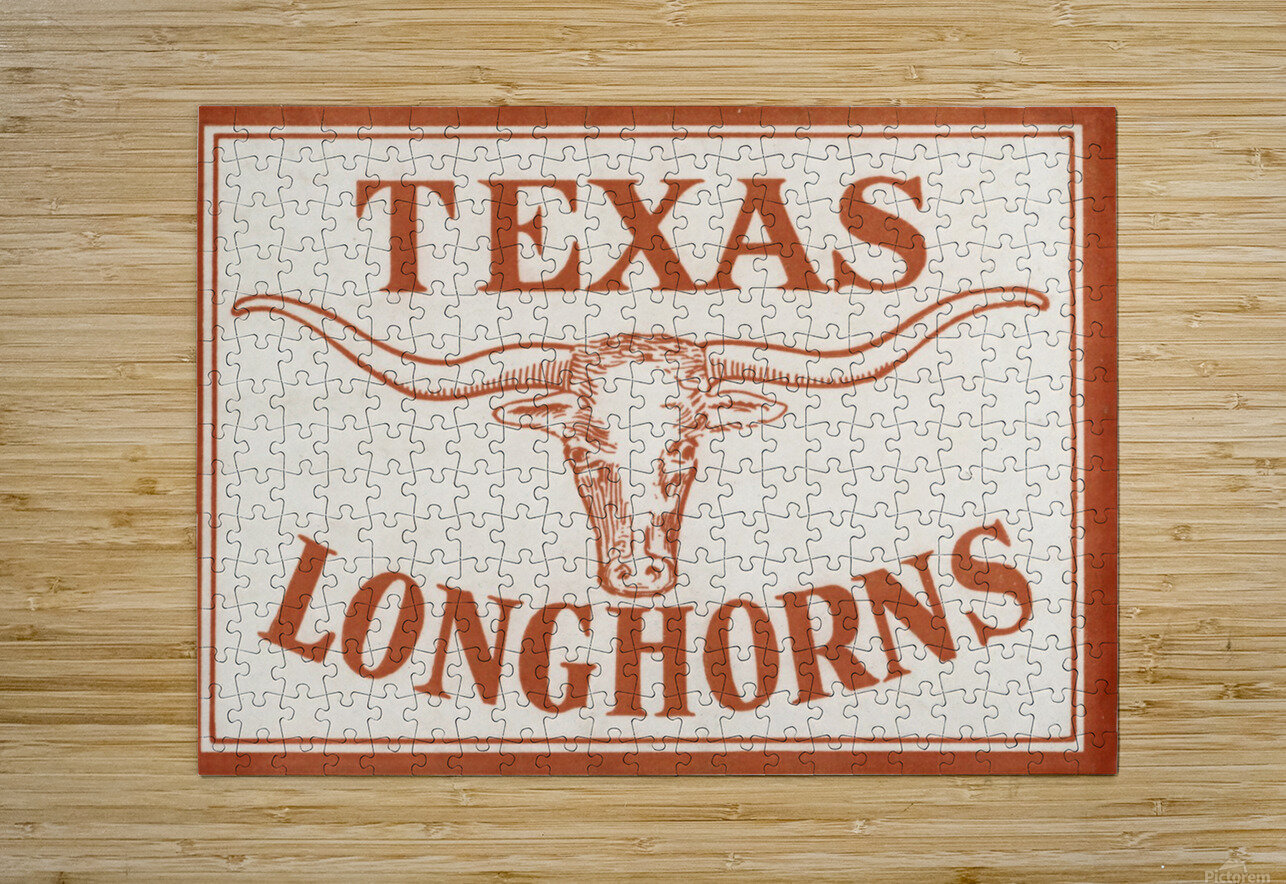 Historic Texas Longhorns Art  HD Metal print with Floating Frame on Back