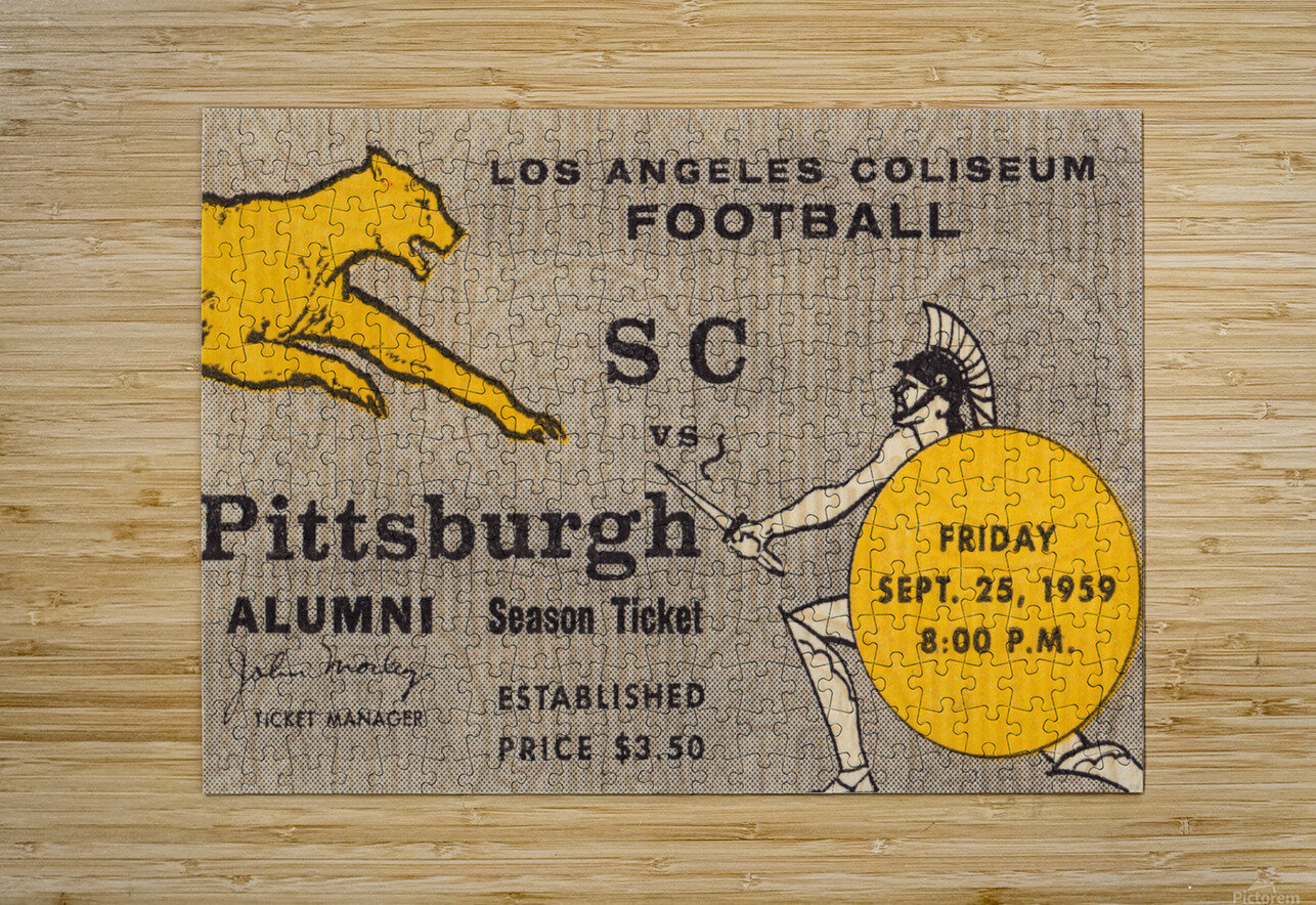 1959 Pittsburgh Panthers vs. USC Trojans  HD Metal print with Floating Frame on Back