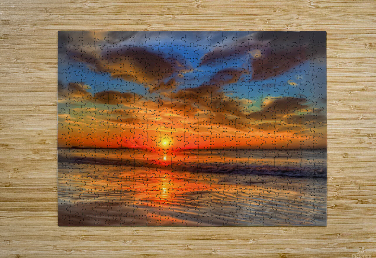 Golden Sea  HD Metal print with Floating Frame on Back