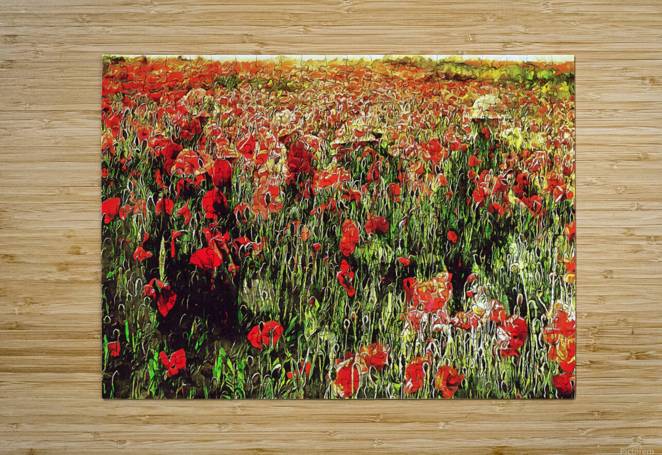 Hidden in the Poppy Fields  HD Metal print with Floating Frame on Back