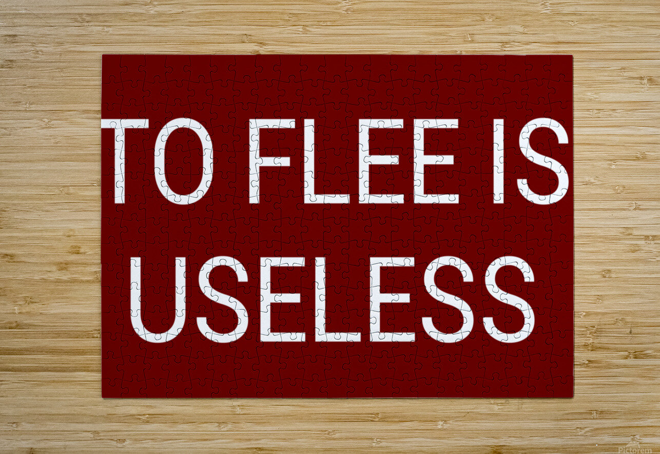 TO FLEE IS USELESS blood red by Lenie Blue  HD Metal print with Floating Frame on Back