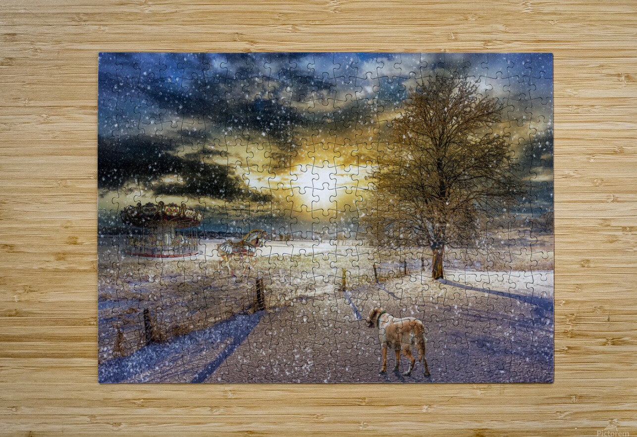 A Magical Winter Night  HD Metal print with Floating Frame on Back