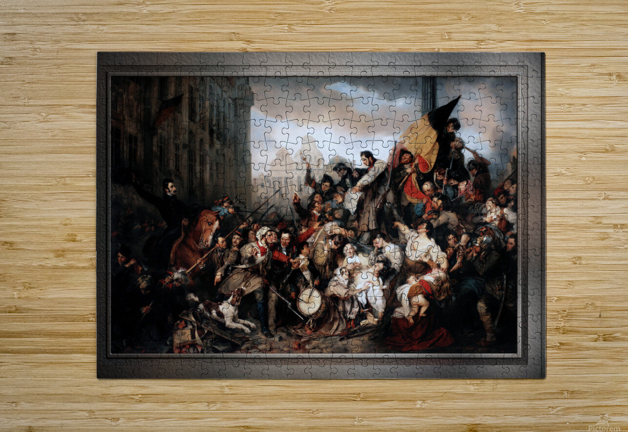 Episode of the September Days 1830 by Gustave Wappers Classical Fine Art Xzendor7 Old Masters Reproductions  HD Metal print with Floating Frame on Back