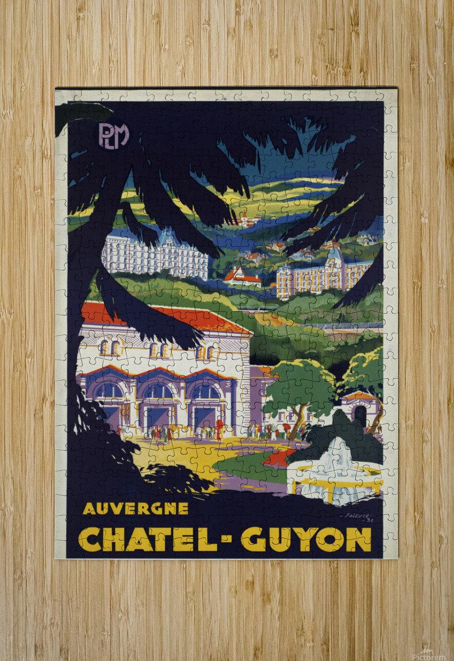 Auvergne Chatel Guyon Vintage French travel poster  Impression métal HD avec cadre flottant sur le dos
