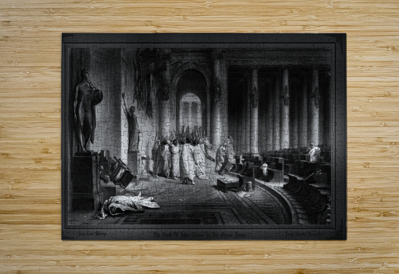 The Death Of Julius Caesar In The Roman Senate Engraving by James Charles Armytage Classical Fine Art Xzendor7 Old Masters Reproductions  HD Metal print with Floating Frame on Back