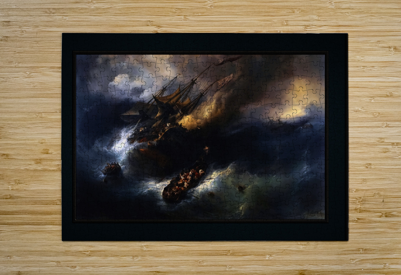 The Loss Of The Indiaman Kent by Theodore Gudin Classical Fine Art Xzendor7 Old Masters Reproductions  HD Metal print with Floating Frame on Back