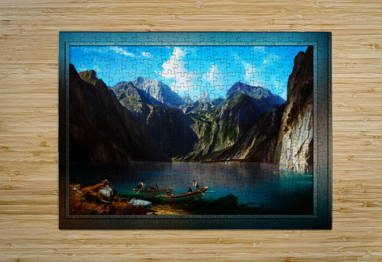 Konigsee c1873 by Willibald Wex Classical Fine Art Xzendor7 Old Masters Reproductions  HD Metal print with Floating Frame on Back