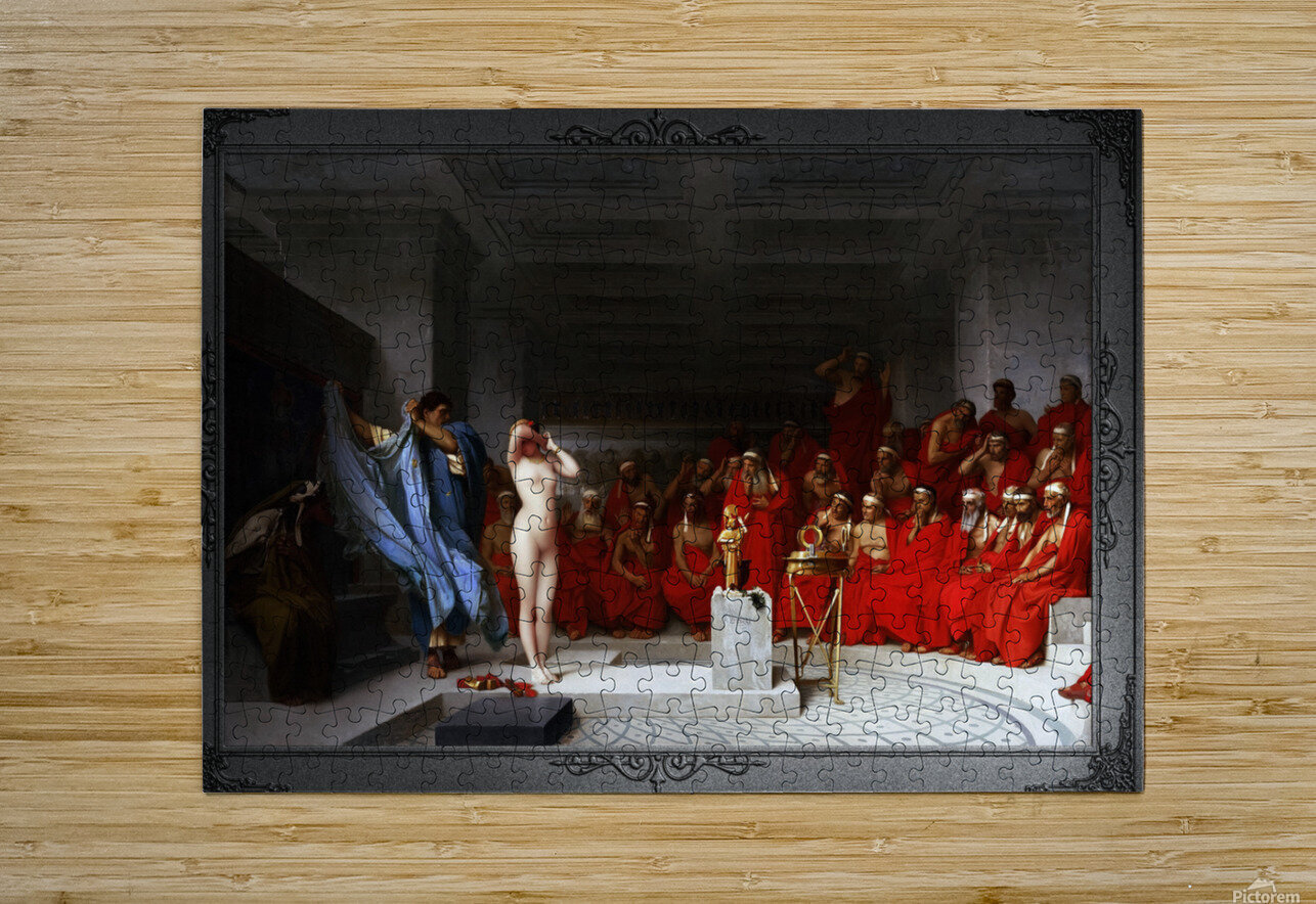 Phryne Revealed Before The Areopagus by Jean-Leon Gerome Classical Fine Art Xzendor7 Old Masters Reproductions  HD Metal print with Floating Frame on Back