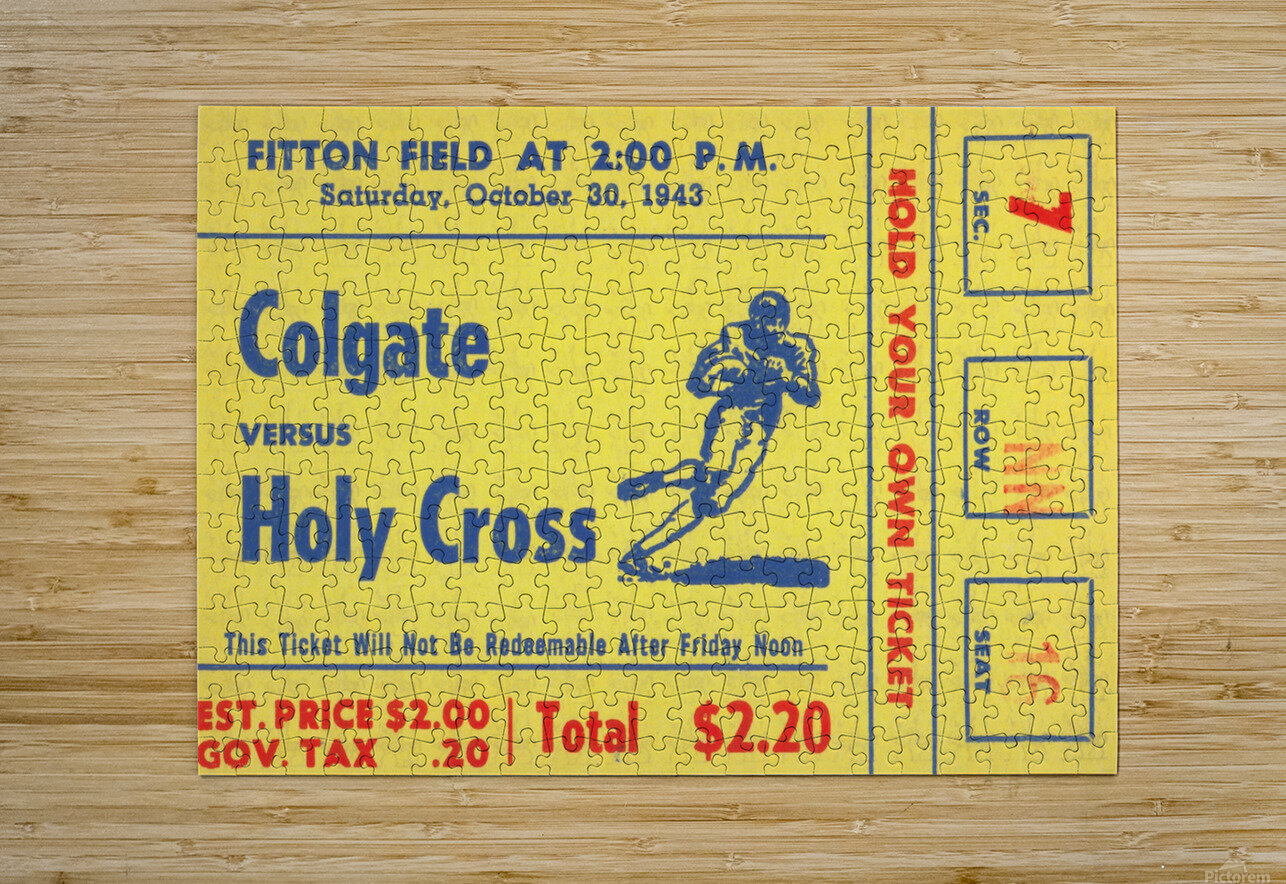 1943 Colgate vs. Holy Cross  HD Metal print with Floating Frame on Back