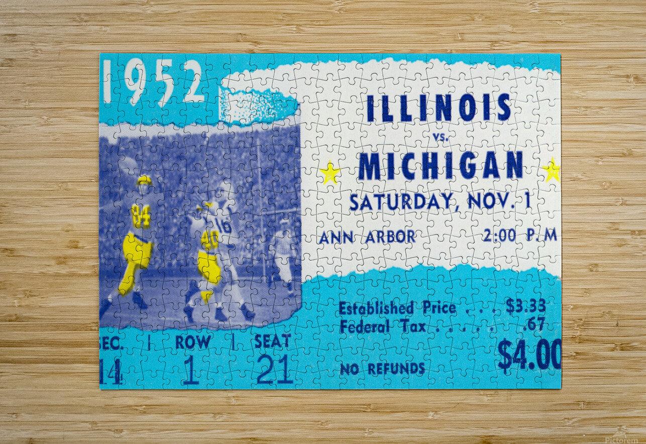 1952 Illinois vs. Michigan Football Ticket Stub Art  HD Metal print with Floating Frame on Back
