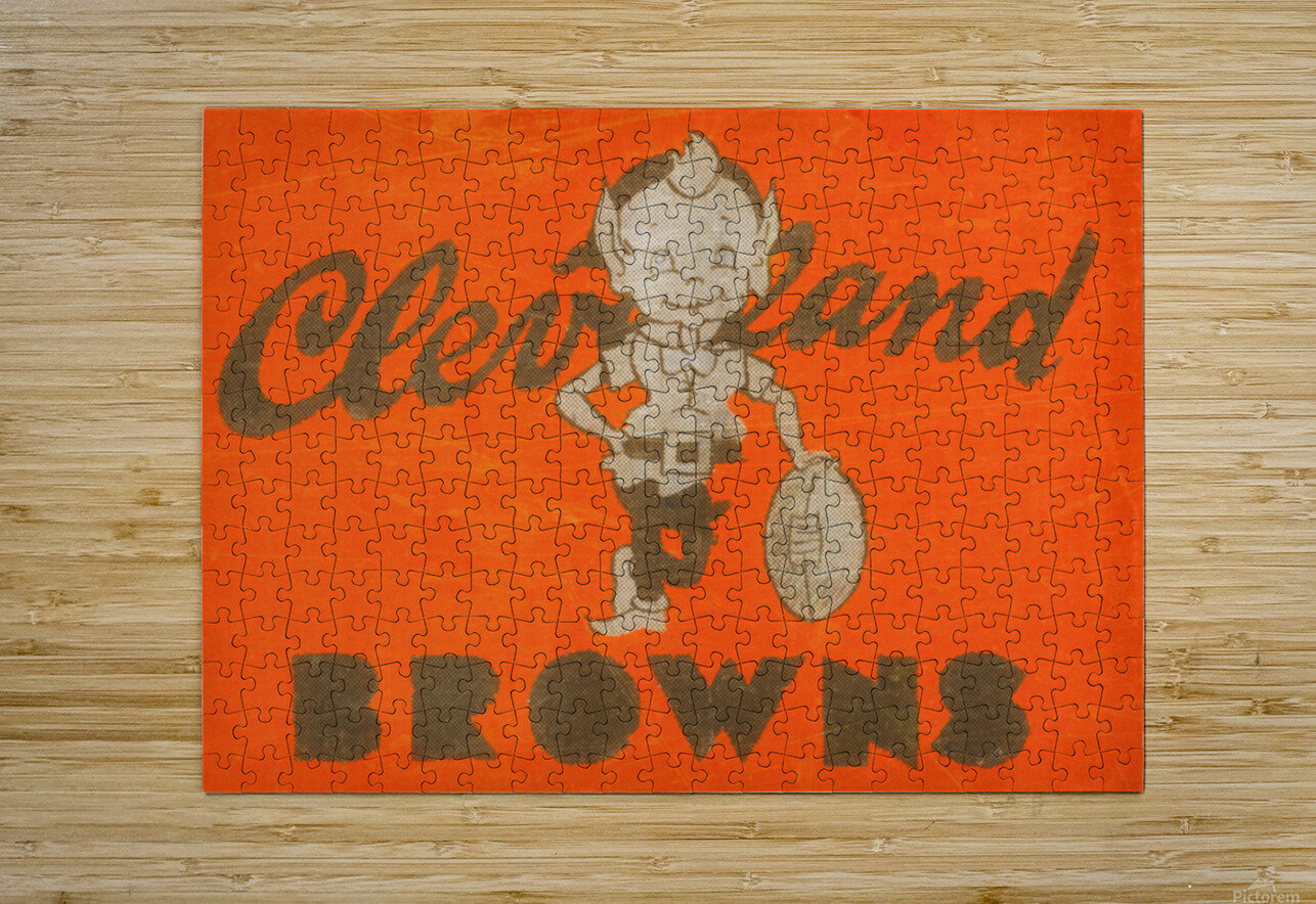 Vintage Cleveland Browns Wall Art  HD Metal print with Floating Frame on Back