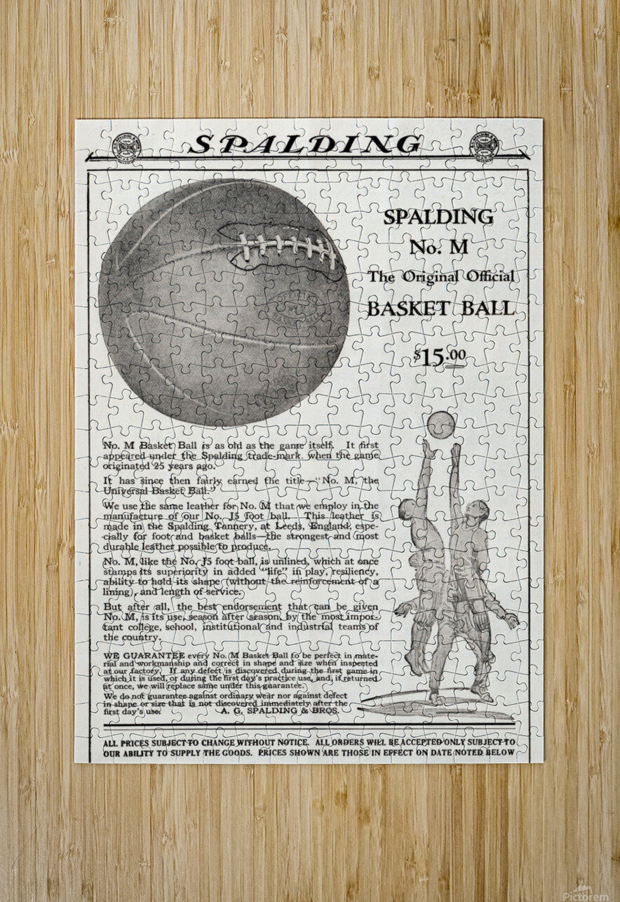 1921 Spalding Basketball Advertisement Poster  HD Metal print with Floating Frame on Back