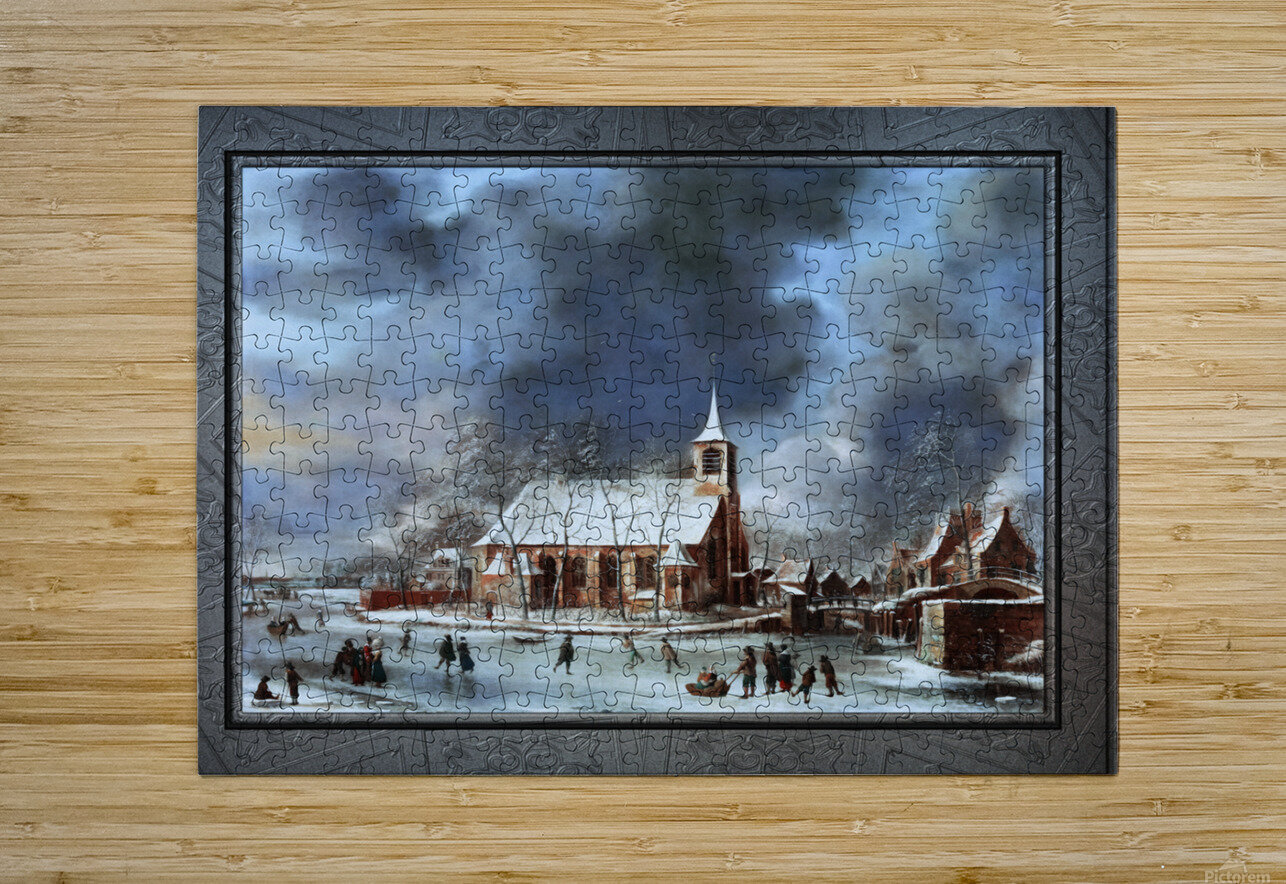Gezicht op de Kerk te Sloten in de Winter by Jan Abrahamsz Beerstraaten Classical Fine Art Xzendor7 Old Masters Reproductions  HD Metal print with Floating Frame on Back