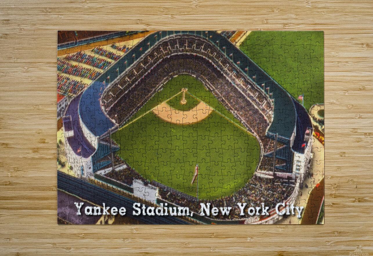 Vintage Yankee Stadium Postcard Art  HD Metal print with Floating Frame on Back