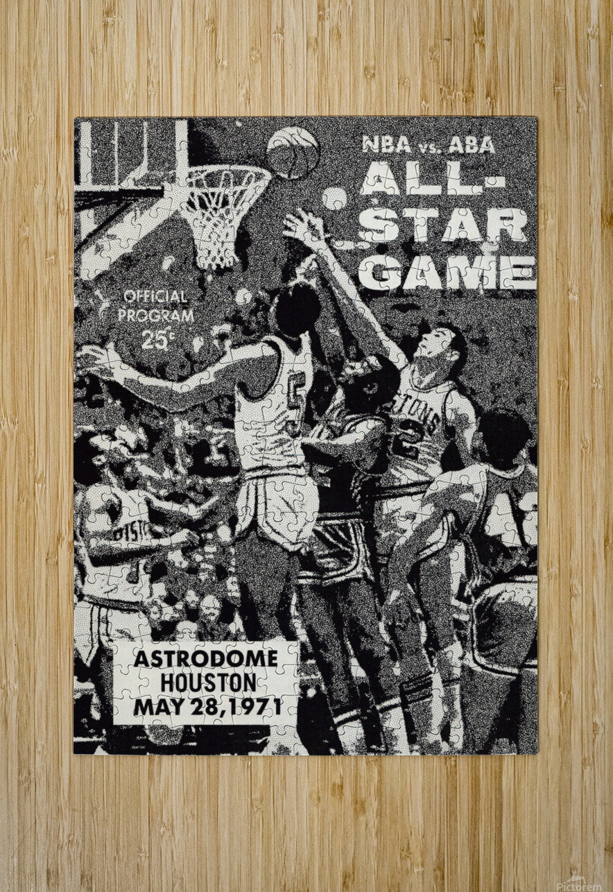 1971 NBA vs. ABA All-Star Game Program Art  HD Metal print with Floating Frame on Back