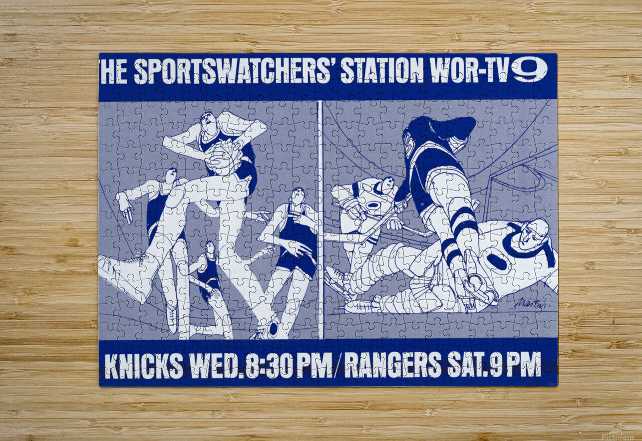 1967 New York Knicks and Rangers WOR TV9 Ad  HD Metal print with Floating Frame on Back