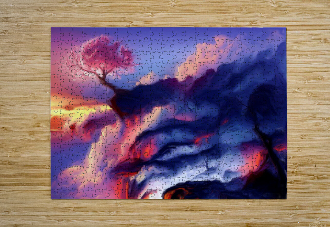 Fiery Mountain  HD Metal print with Floating Frame on Back