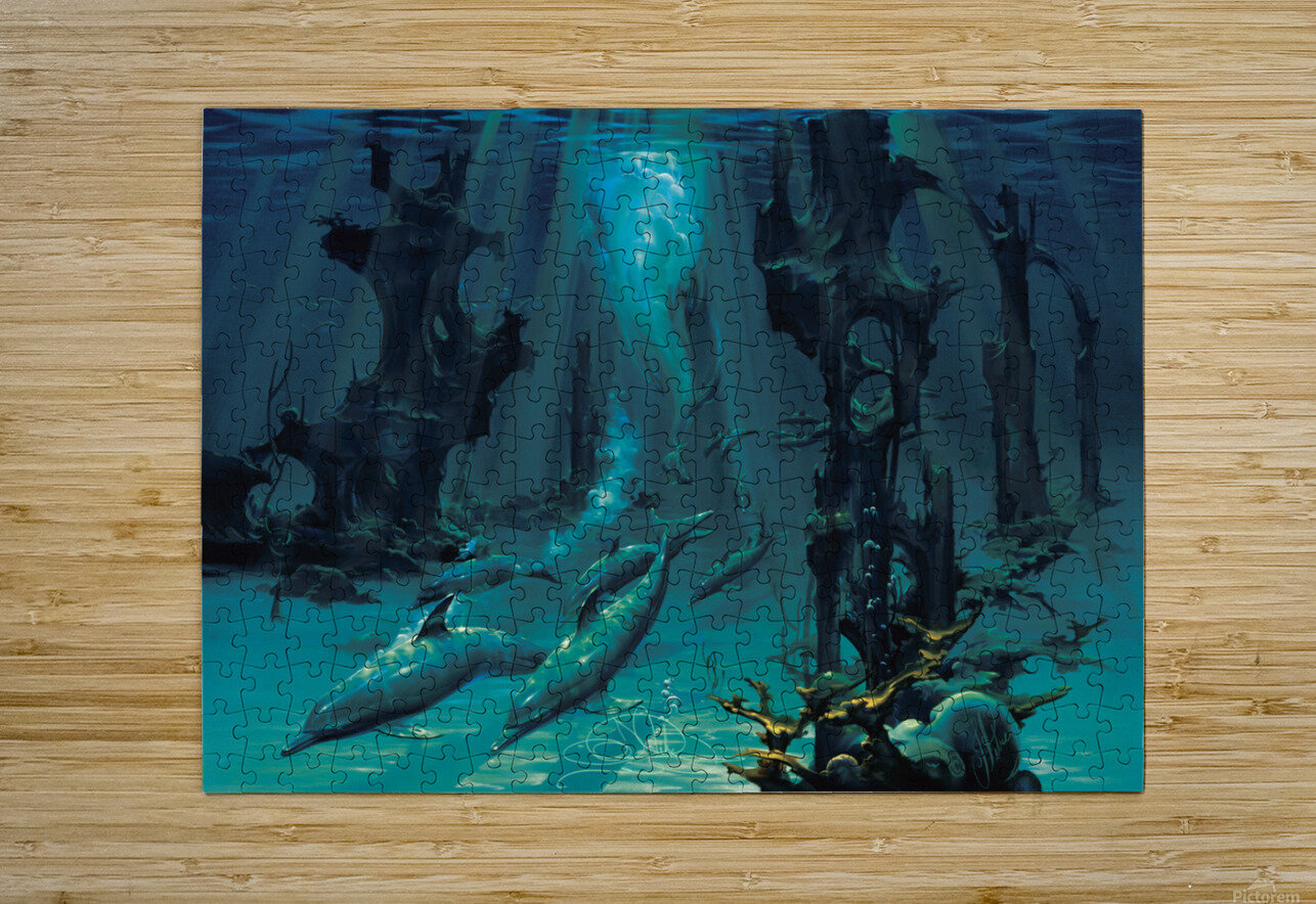 Atlantis Dolphins  HD Metal print with Floating Frame on Back
