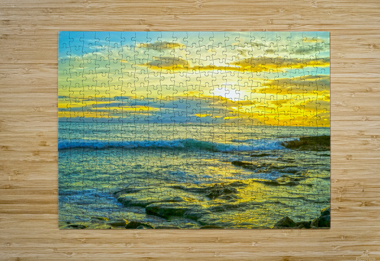 Sunset in Paradise   Hawaii  HD Metal print with Floating Frame on Back