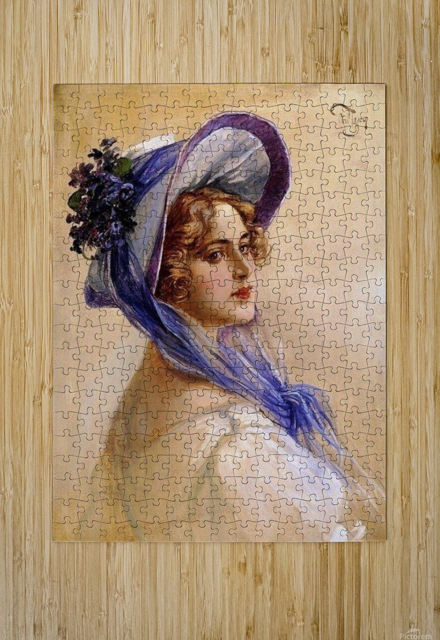 Youbg lady with purple hat  Impression métal HD avec cadre flottant sur le dos