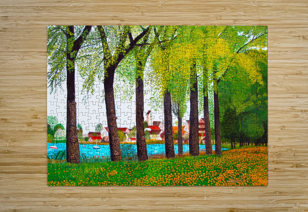 Swiss Village Spring Day  HD Metal print with Floating Frame on Back