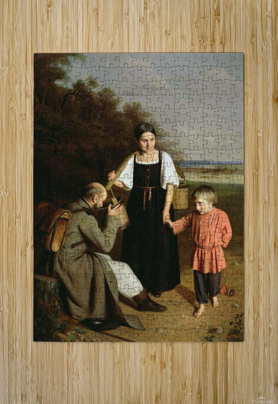 Peasant offering to a soldier a drink  HD Metal print with Floating Frame on Back