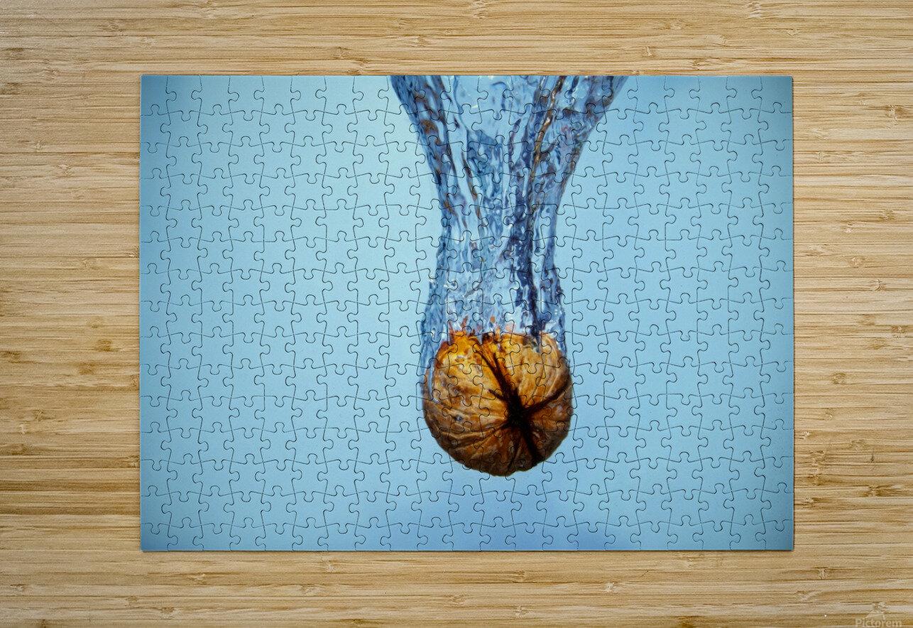 Amazing Walnut water splash  HD Metal print with Floating Frame on Back