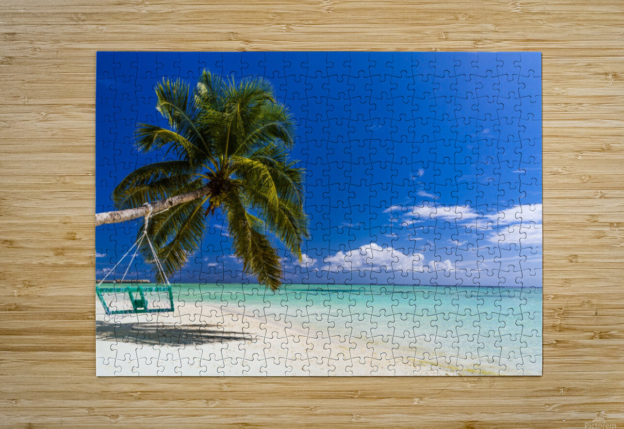 Untouched tropical beach in Maldives  HD Metal print with Floating Frame on Back