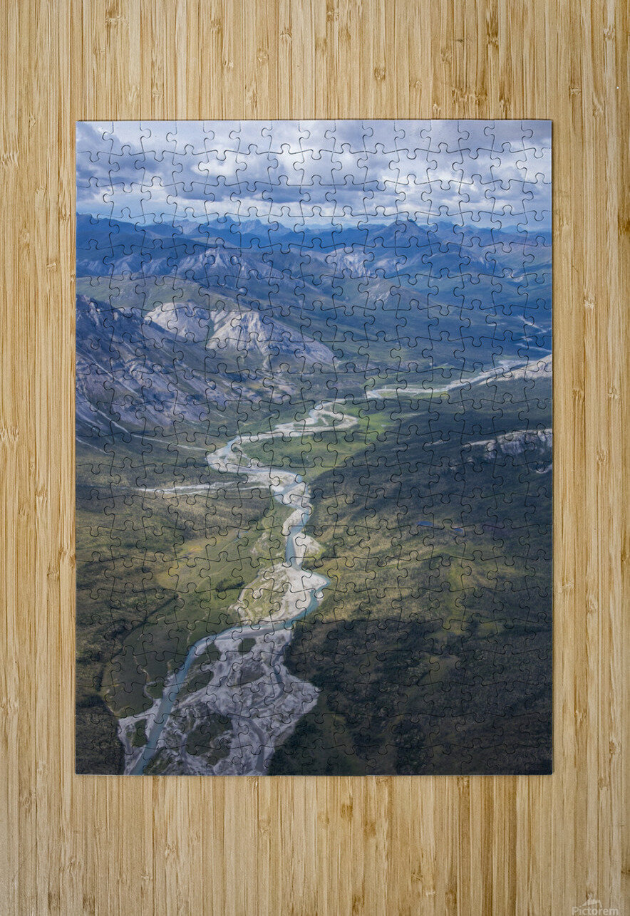 Aerial View of the Brooks Range in summer, ANWR, Alaska  HD Metal print with Floating Frame on Back