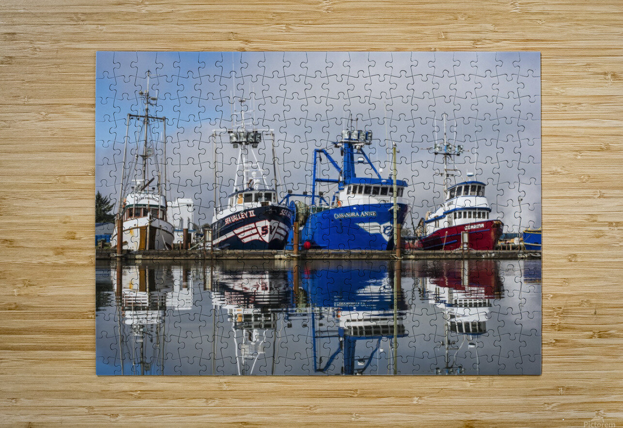 Fishing boats moored at the dock; Warrenton, Oregon, United States of America  HD Metal print with Floating Frame on Back