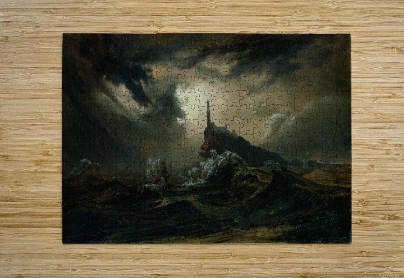 Sturmische See mit Leuchtturm  Impression métal HD avec cadre flottant sur le dos