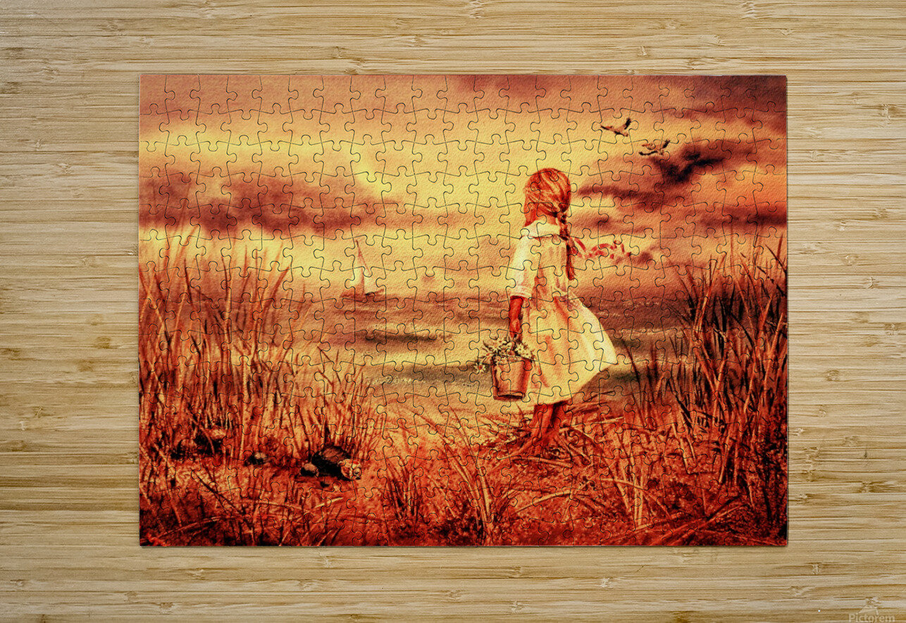 Girl At The Ocean Vintage Style  HD Metal print with Floating Frame on Back