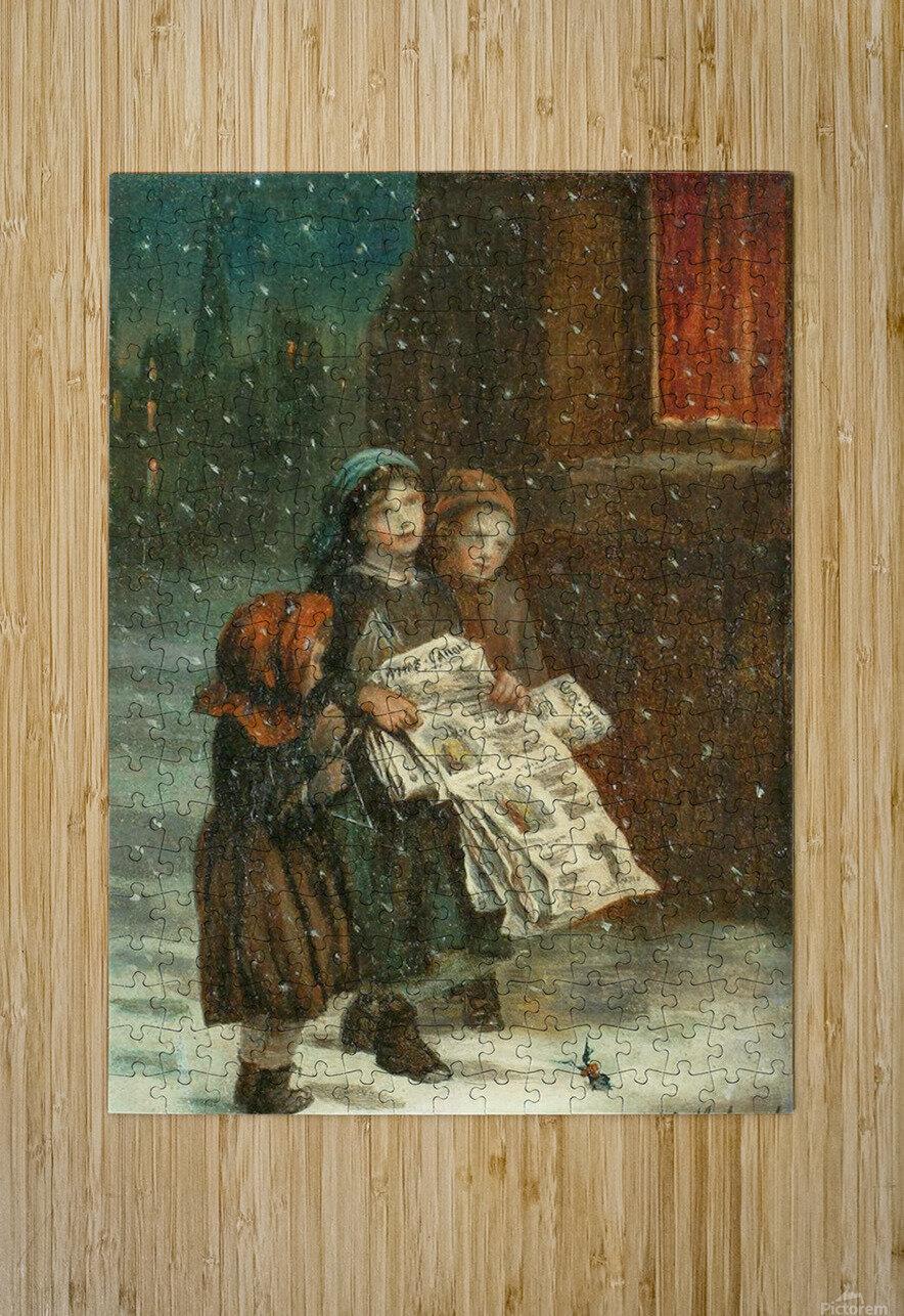 Small children with newspapers  Impression métal HD avec cadre flottant sur le dos