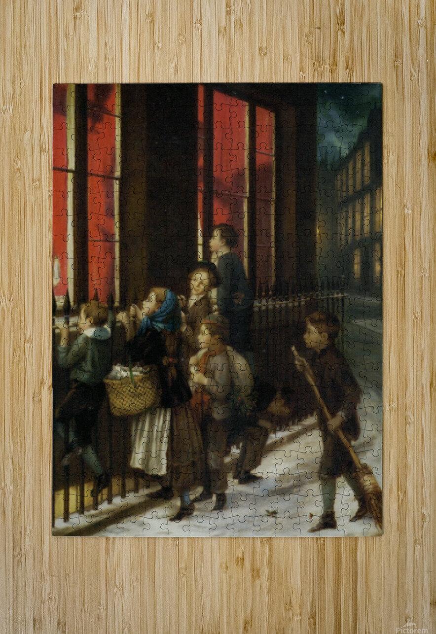 A group of children gazing through the window  Impression métal HD avec cadre flottant sur le dos