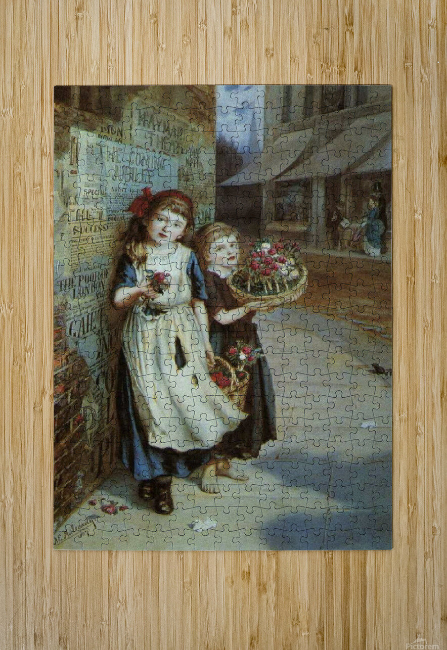 Little Flower Sellers  HD Metal print with Floating Frame on Back