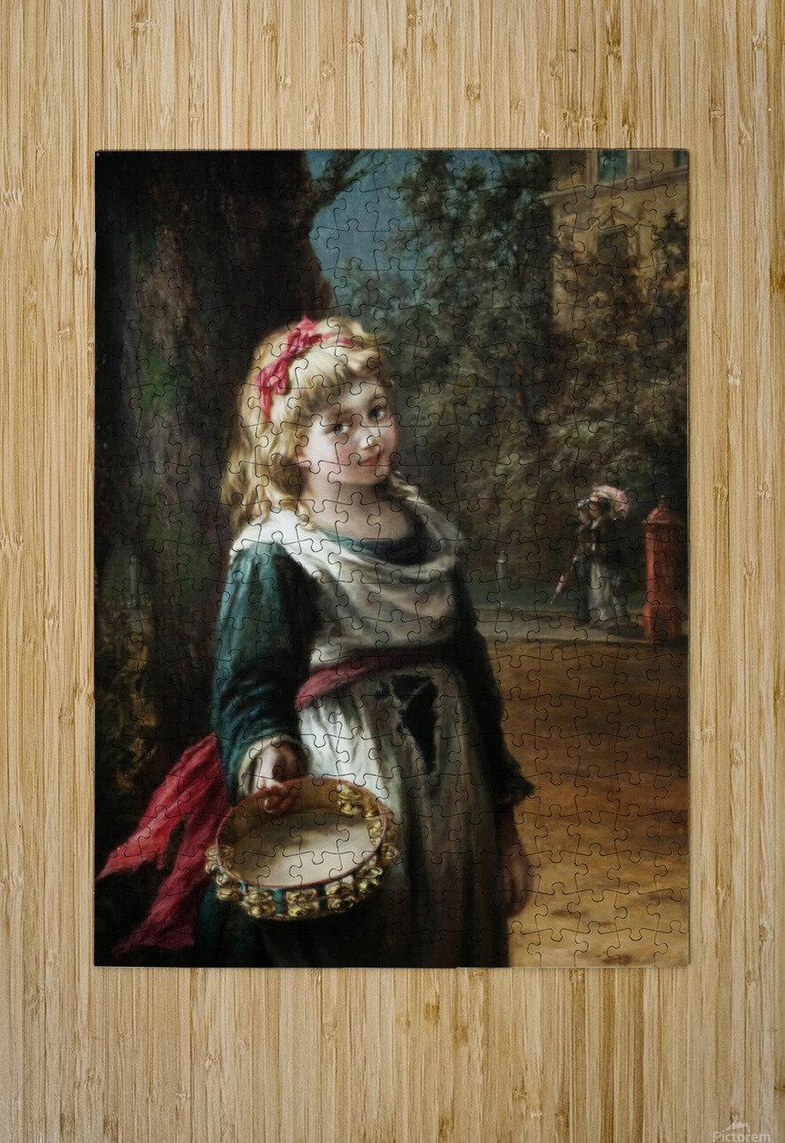 A young blonde girl  Impression métal HD avec cadre flottant sur le dos