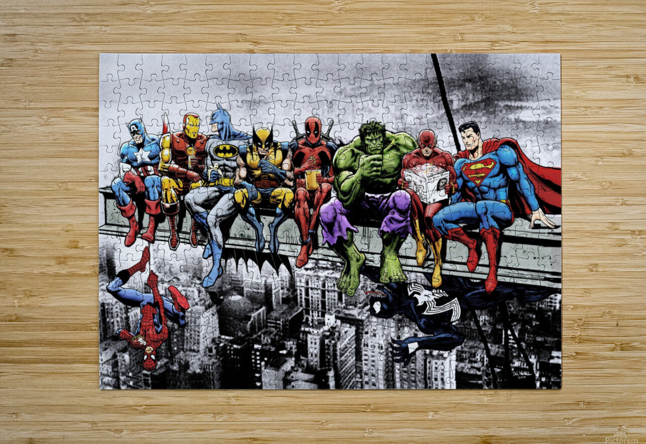 Marvel and DC Superheroes Lunch Atop A Skyscraper Featuring Captain America Iron Man Batman Wolverine Deadpool Hulk Flash & Superman  HD Metal print with Floating Frame on Back