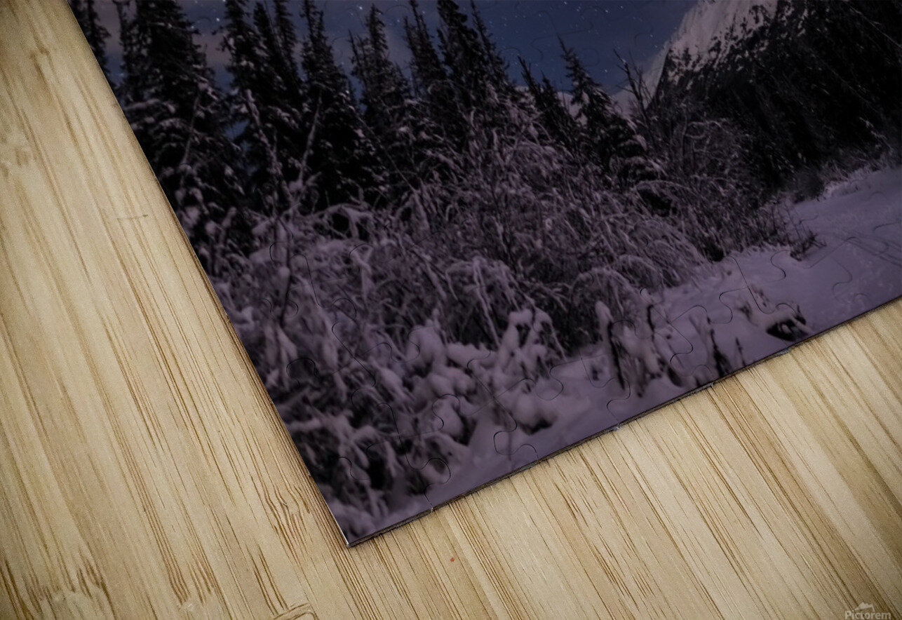 Night skies above Chugach Mountains and Eagle River Valley on winter solstice in South-central Alaska; Alaska, United States of America HD Sublimation Metal print