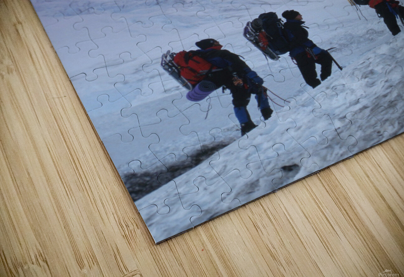 Mountain Climbers Byron Glacier Southcentral Ak Spring HD Sublimation Metal print