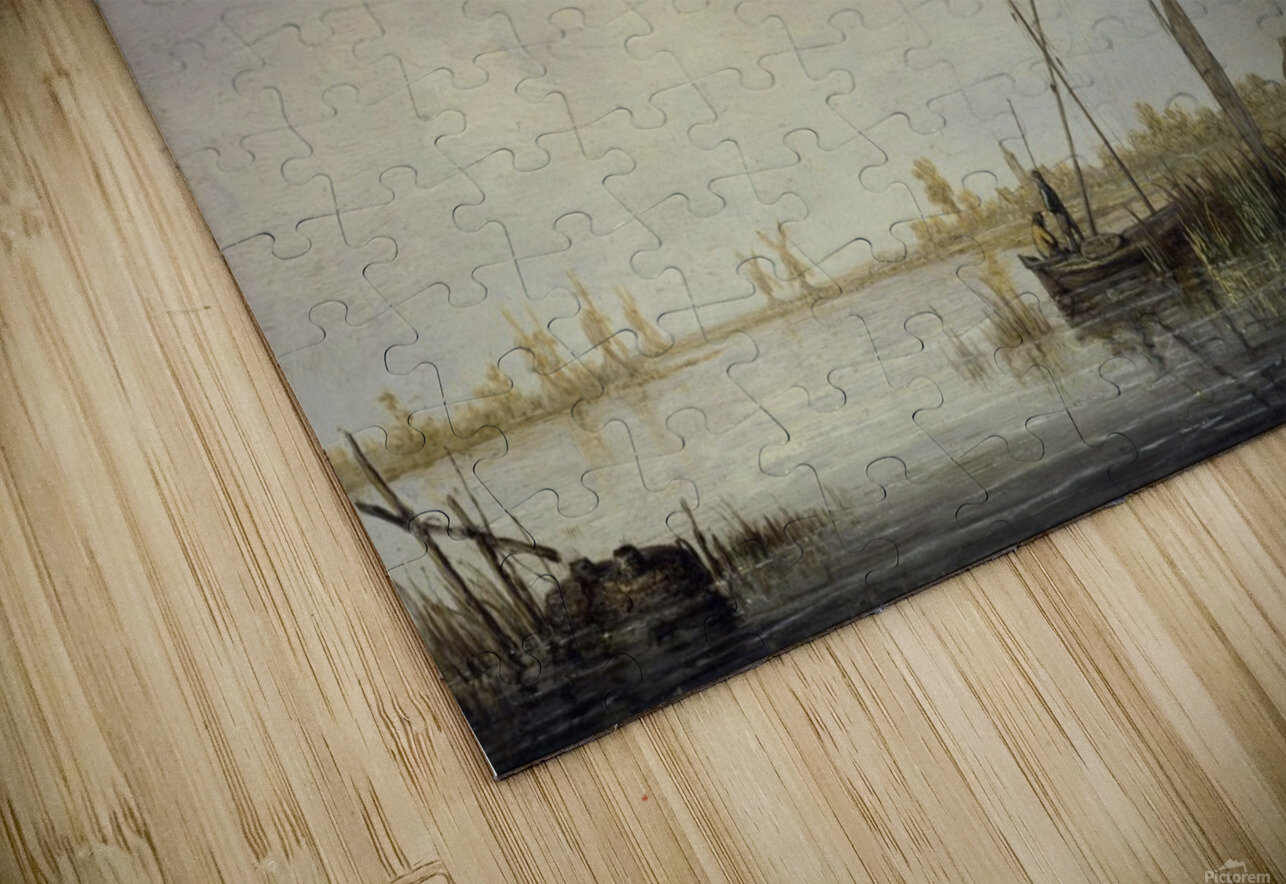 A River Scene with Distant Windmills HD Sublimation Metal print