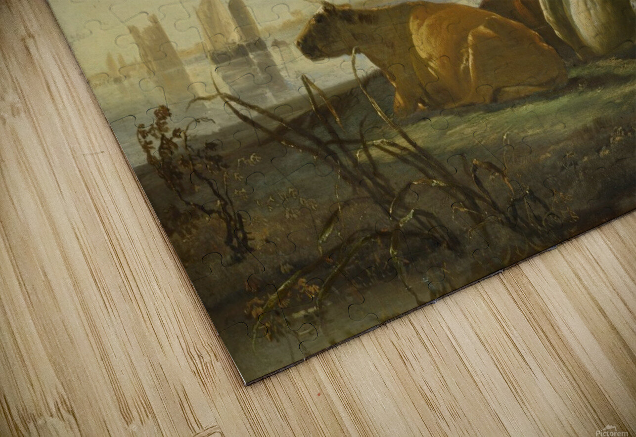 Peasants and Cattle by the River Merwede HD Sublimation Metal print