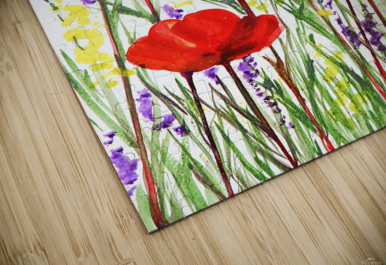 Red Poppies And Lavender Field Watercolor HD Sublimation Metal print