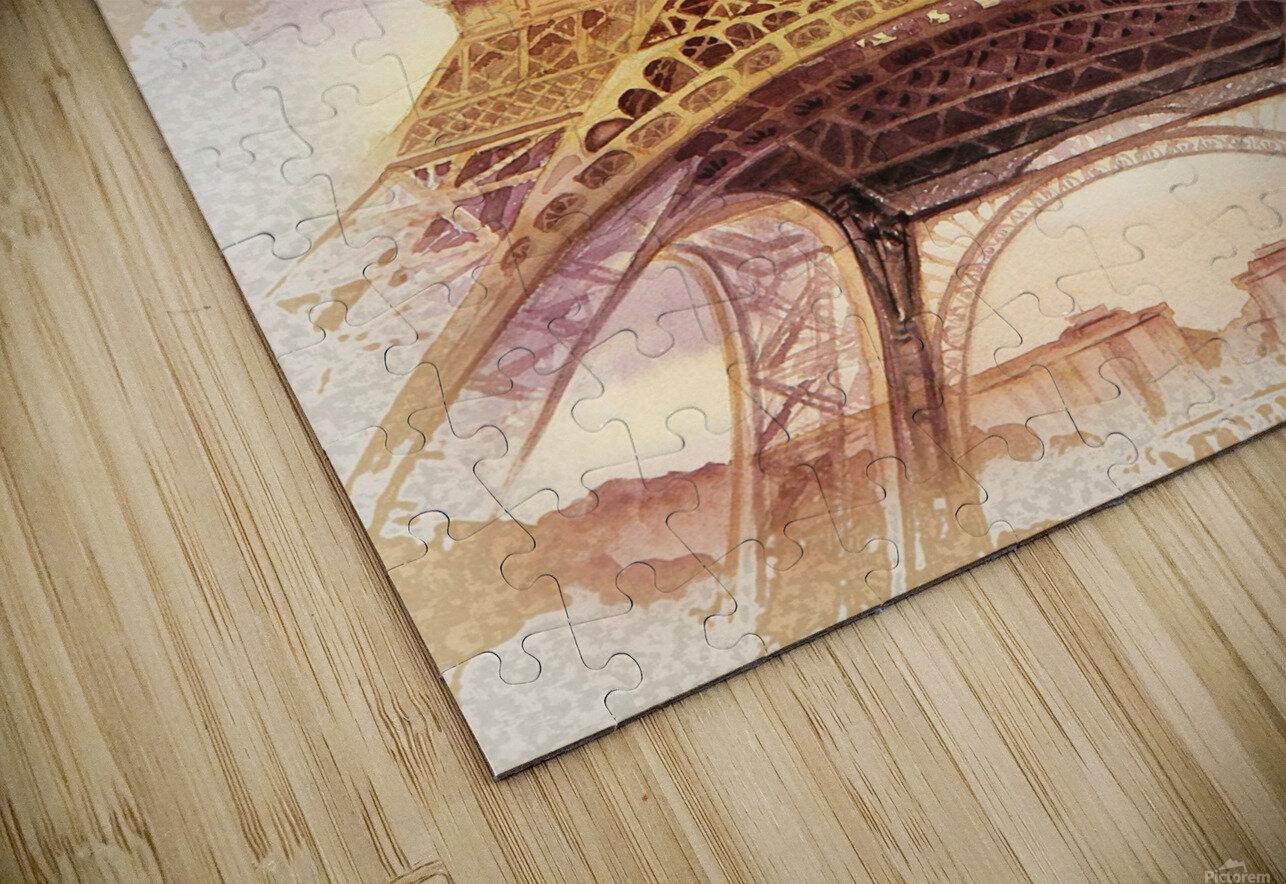 Vintage Paris Eiffel Tower Watercolor Painting HD Sublimation Metal print