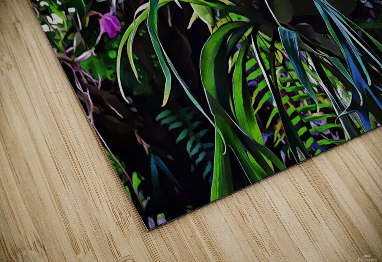 Stag Horn And Orchid Fantasy Garden HD Sublimation Metal print